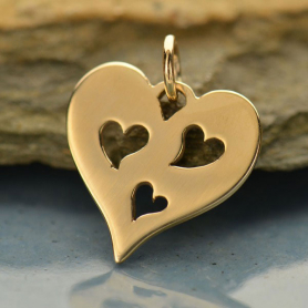 Heart Jewelry Charm with 3 Heart CutoutsBronze DISCONTINUED