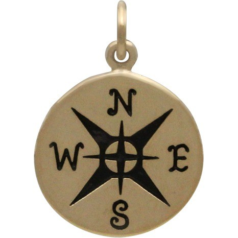 Bronze Compass Jewelry Charm -21mm