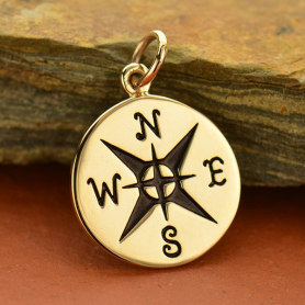 Bronze Compass Jewelry Charm -21mm