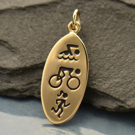Swim Bike Run Triathlon Jewelry Charm - Bronze DISCONTINUED