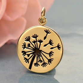 Big Dandelion Jewelry Charm - Bronze 20x15mm