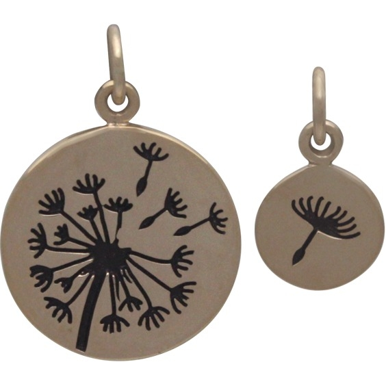 Small and Large Dandelion Jewelry Charm Set - Bronze 21x15mm