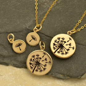 Small and Large Dandelion Jewelry Charm Set - Bronze