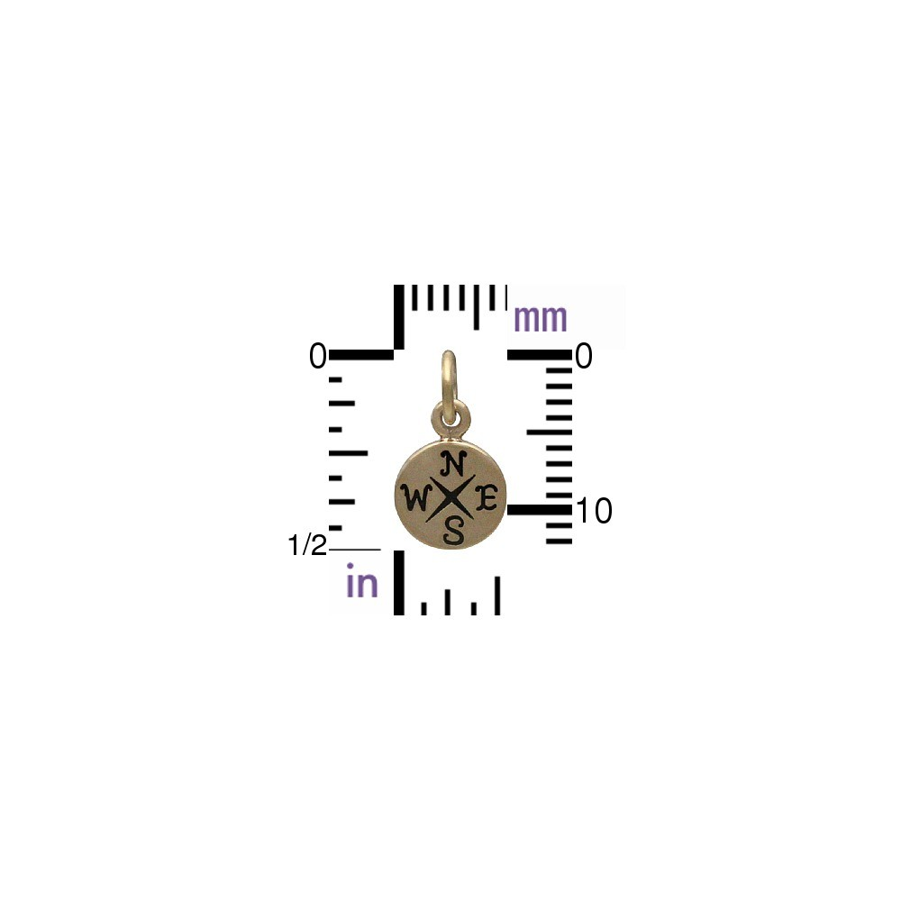 Bronze Compass Charm 14x8mm
