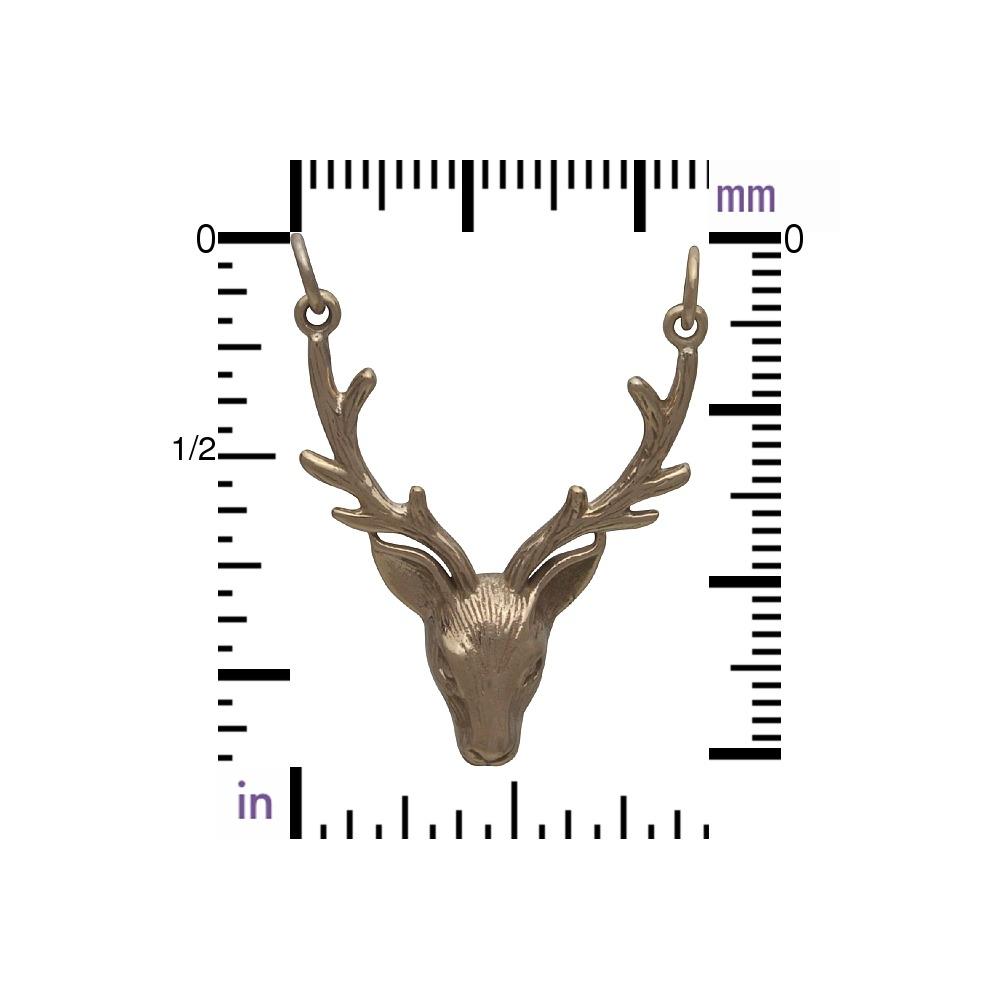 Realistic Stag Head Pendant Festoon - Bronze 33x24mm