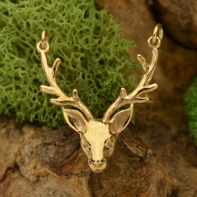 Realistic Stag Head Pendant Festoon - Bronze 33x24mm