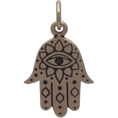 Hamsa Hand Jewelry Charm with Evil Eye - Bronze 19x11mm