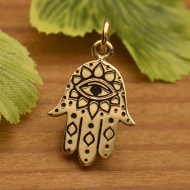 Hamsa Hand Jewelry Charm with Evil Eye - Bronze -20mm