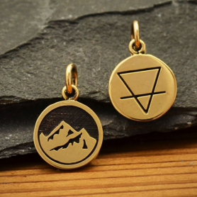 Bronze Four Elements Earth Charm 16x10mm