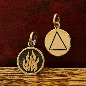 Bronze Four Elements Fire Charm 16x10mm