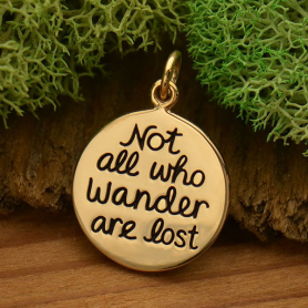 Not All Who Wander Are Lost Message Pendant - Bronze 20x14mm