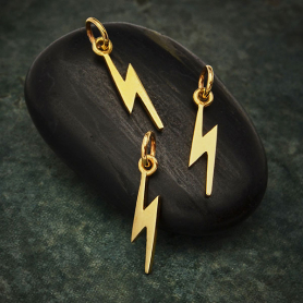 Bronze Tiny Lightning Bolt Charm