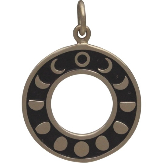 Phases of the Moon Circle Pendant - Bronze
