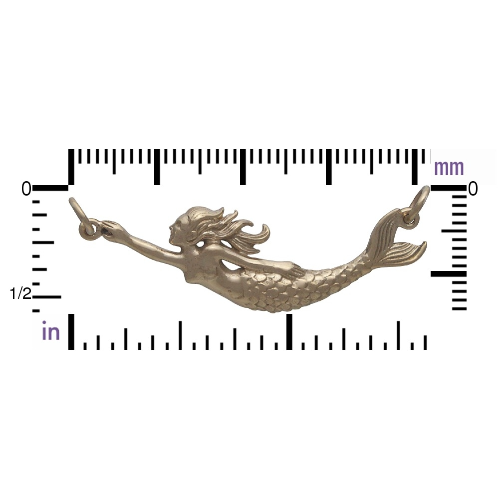 Mermaid Pendant Festoon - Bronze 16x42mm