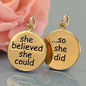 She Believed She Could So Message Pendant - Bronze 20x15mm