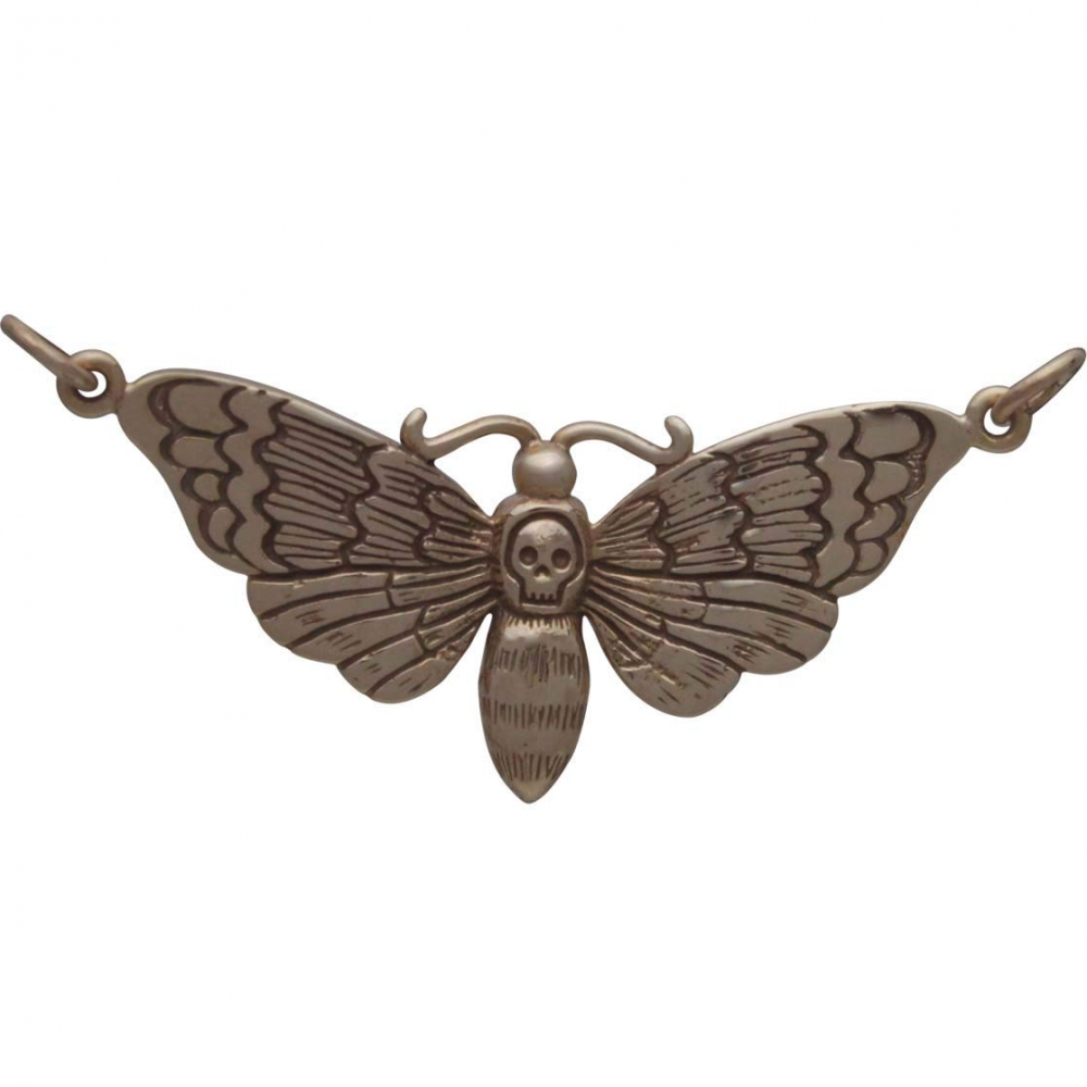 Bronze Deaths Head Moth Charm 20x41mm