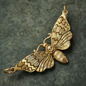 Bronze Deaths Head Moth Charm