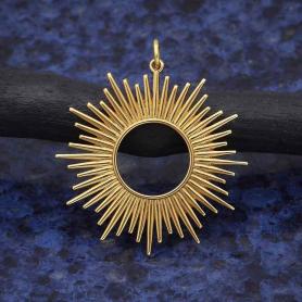 Bronze Spikey Sun Pendant 37x32mm