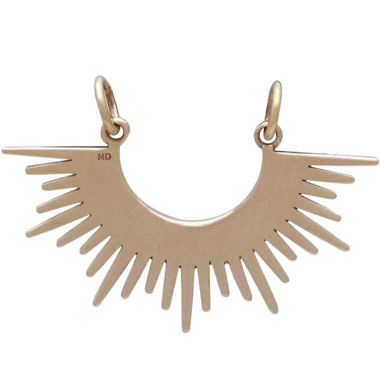 Bronze Sunburst Spike Pendant Festoon 23x32mm
