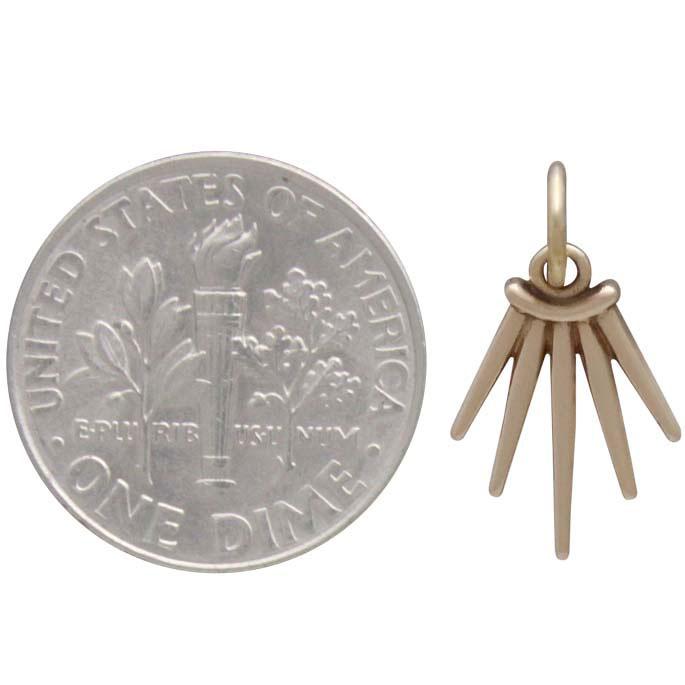 Bronze Five Spike Charm 17x10mm