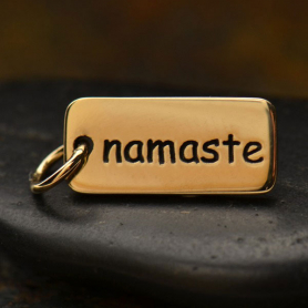 Namaste Word Jewelry Charm - Bronze 18x7mm