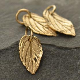 Small Mint Leaf Jewelry Charm - Bronze 16x7mm
