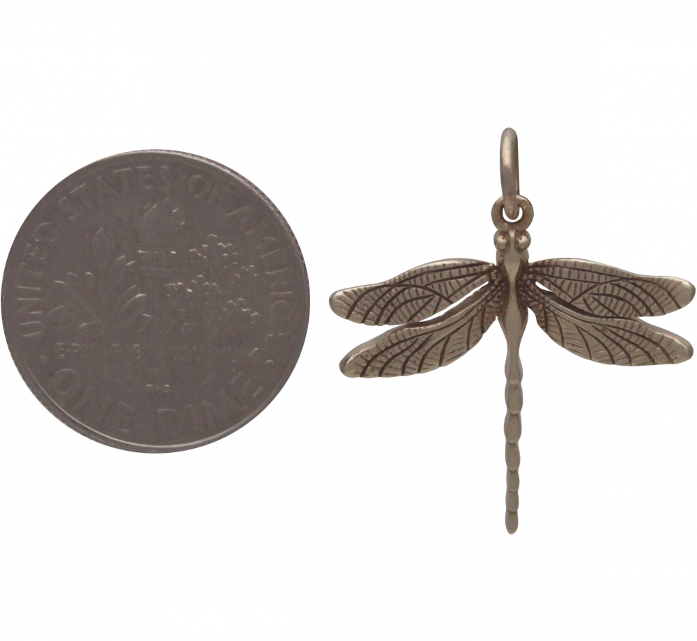 Realistic Dragonfly Pendant - Bronze 24x20mm