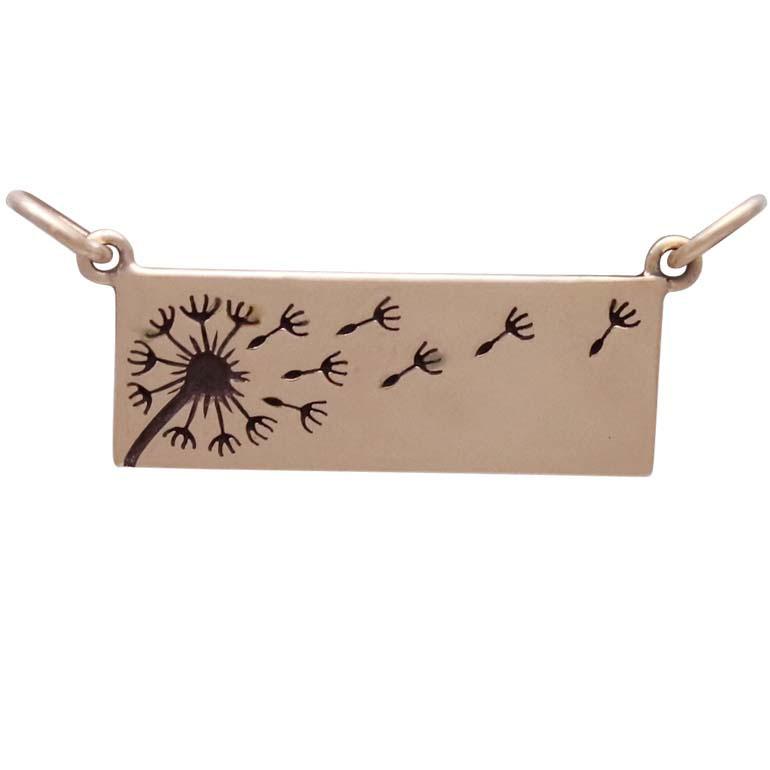 Bronze Rectangle Dandelion Pendant Festoon 14x26mm