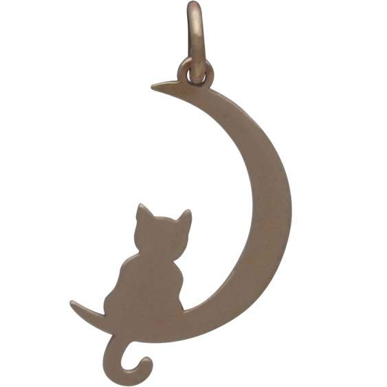 Bronze Moon Charm with Kitty 25x11mm