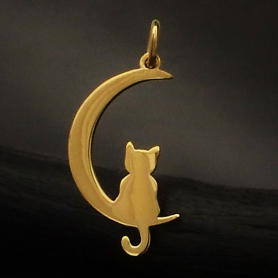 Bronze Moon Charm with Kitty