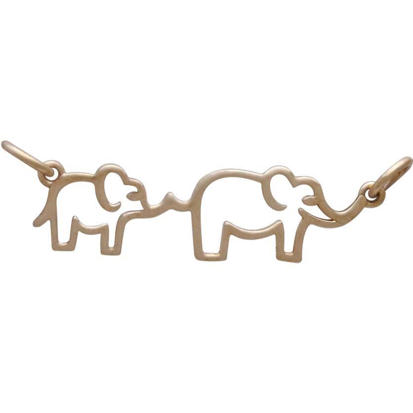 Bronze Mama and Baby Elephant Pendant Festoon 12x30mm