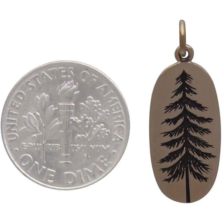 Bronze Etched Pine Tree Charm 26x10mm