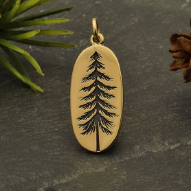 Bronze Etched Pine Tree Charm 26x10mm