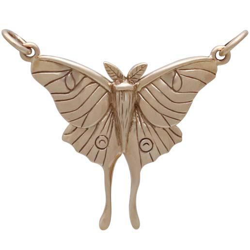 Bronze Luna Moth Pendant Festoon 26x30mm
