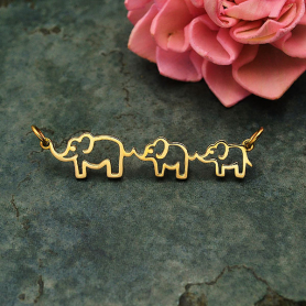 Bronze Mama and Two Baby Elephant Pendant Festoon 12x45mm