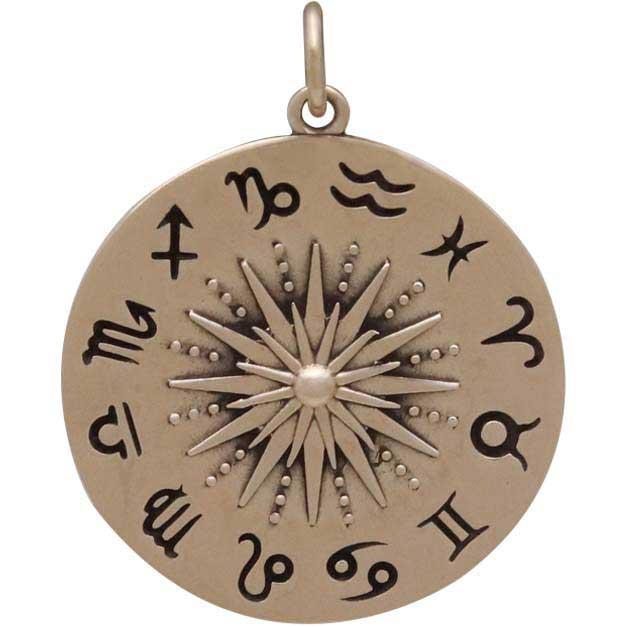 Bronze Sun Pendant with Zodiac Signs 27x21mm