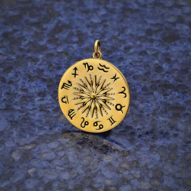 Bronze Sun Pendant with Zodiac Signs 27x21mm