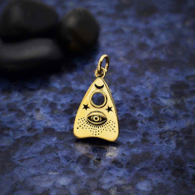 Bronze Ouija Planchette Charm with All Seeing Eye 20x11mm