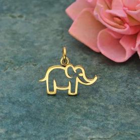 Bronze Openwork Mama Elephant Charm 15x18mm