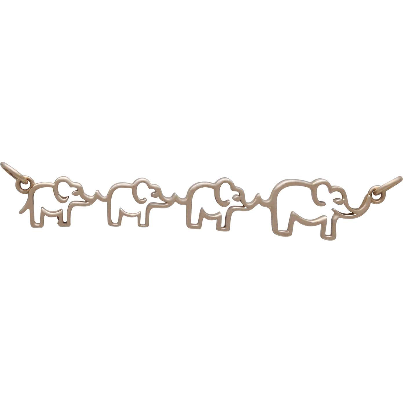 Bronze Mama and Three Baby Elephant Pendant Festoon 12x55mm
