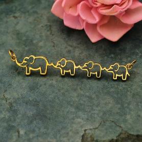 Bronze Mama and Three Baby Elephant Pendant Festoon 12x55mm