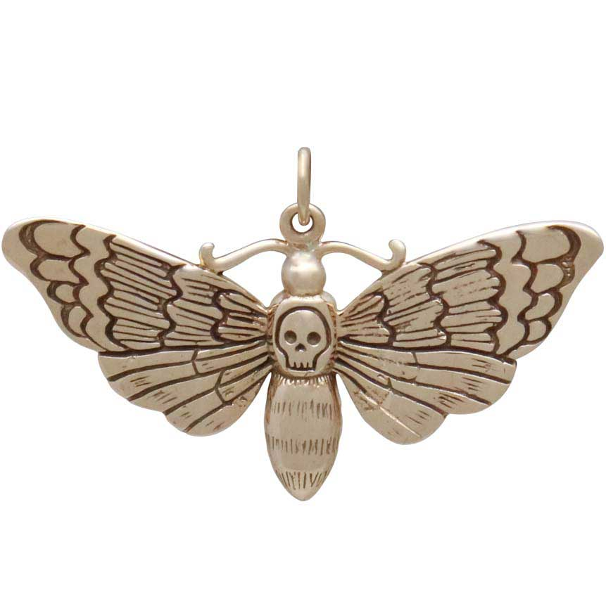 Bronze Death Heads Moth Pendant 22x36mm