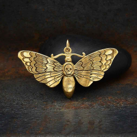 Bronze Death Heads Moth Pendant 22x36mm