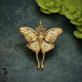 Bronze Luna Moth Pendant 28x24mm