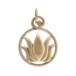 Lotus Jewelry Charm on Round Openwork Circle- Bronze