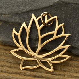 Large Lotus Jewelry Pendant - Bronze