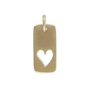 Rectangle Jewelry Charm with Heart Cutout - Bronze
