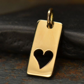 Rectangle Jewelry Charm with Heart Cutout - Bronze 18x7mm