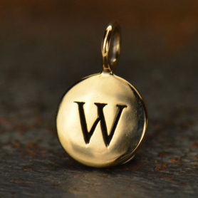 Alphabet Charms Letter W - Bronze 13x8mm DISCONTINUED