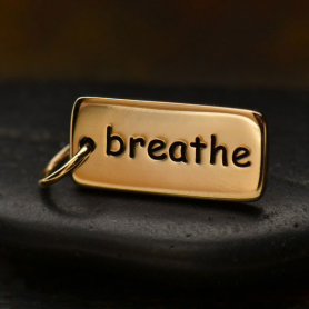 Breathe Word Jewelry Charm - Bronze 18x7mm